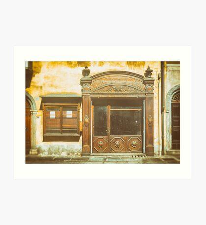 Old shop door and window Art Print