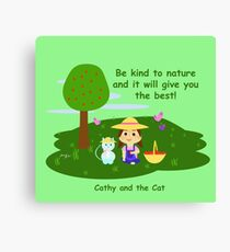 Cathy and the Cat with Nature Canvas Print