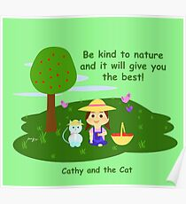 Cathy and the Cat with Nature Poster