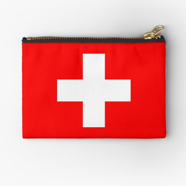 WHITE CROSS. On RED. Swiss. Switzerland. Swiss Flag, Flag of Switzerland, White Cross, Swiss Confederation. Zipper Pouch