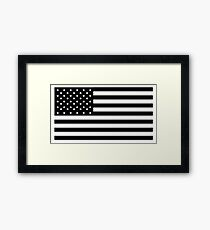American Flag, STARS & STRIPES, USA, America, Black on white Framed Print