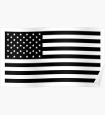 American Flag, STARS & STRIPES, USA, America, Black on white Poster