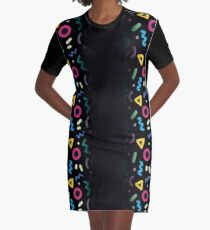 Retro Split Fade Graphic T-Shirt Dress