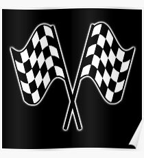 MOTOR SPORT, RACING, Racing Cars, Race, Checkered Flag, Le Mans, Flutter, WIN, WINNER, Chequered Flag, Double, Finish line, BLACK Poster