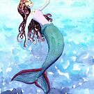 Touching the surface- mermaid under the sea by Andrea England