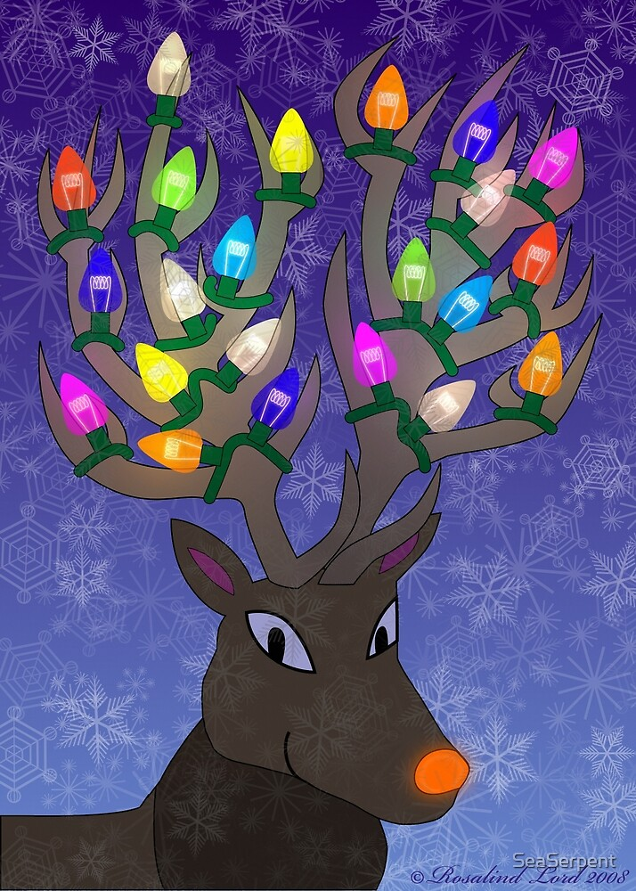 Rudolf with Christmas Tree Lights by SeaSerpent