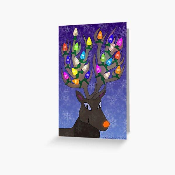 Rudolf with Christmas Tree Lights Greeting Card