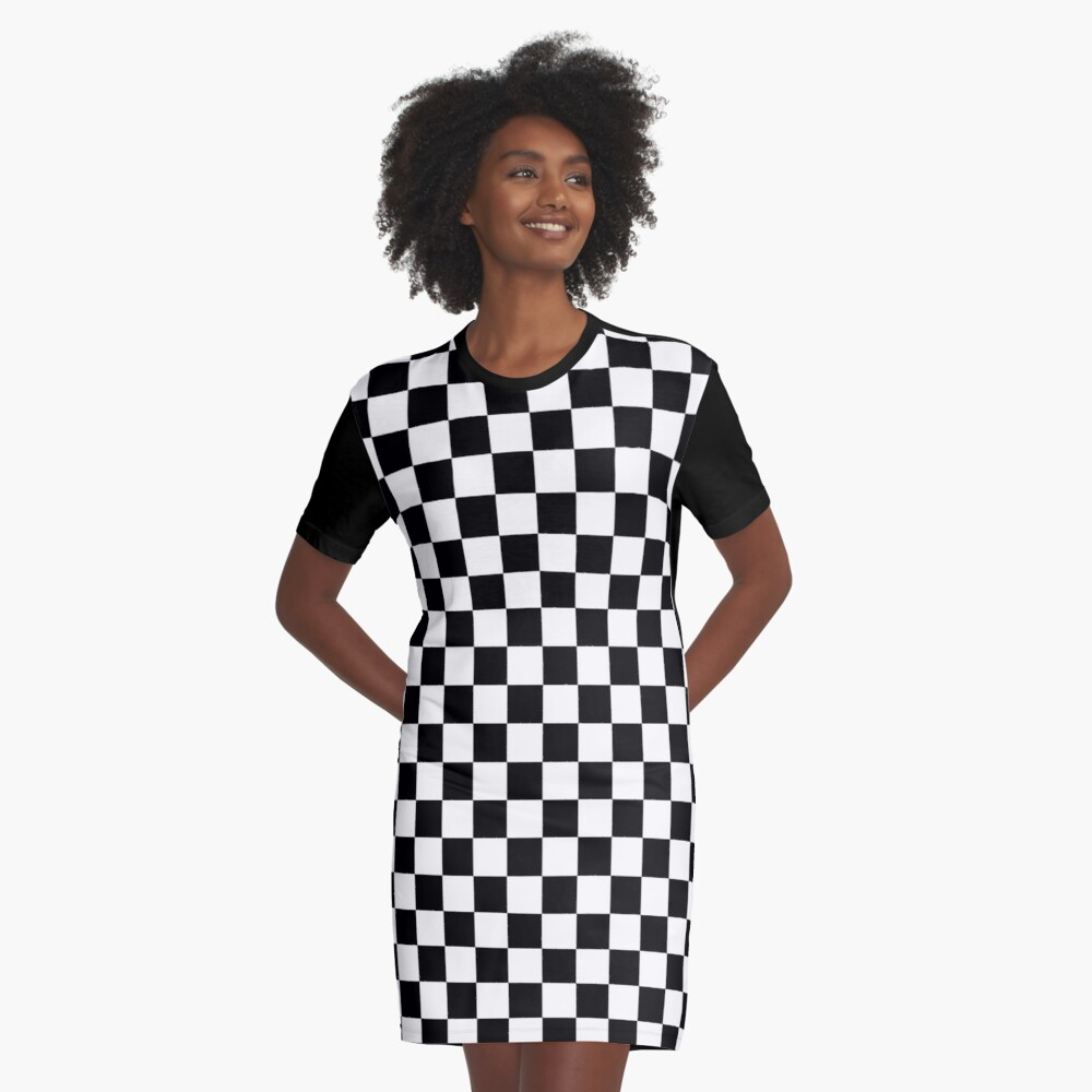 Checkered Flag, Chequered Flag, Motor Sport, Checkerboard, Pattern, WIN, WINNER,  Racing Cars, Race, Finish line, BLACK. Graphic T-Shirt Dress