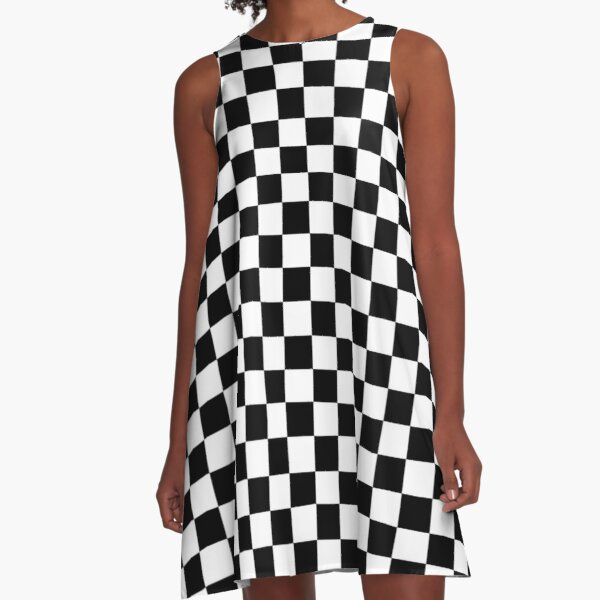 Checkered Flag. Chequered Flag. Motor Sport. Checkerboard. Pattern. WIN. WINNER.  Racing Cars. Race. Finish line. BLACK. A-Line Dress