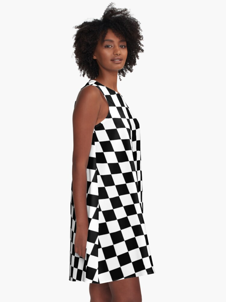 Alternate view of Checkered Flag, Chequered Flag, Motor Sport, Checkerboard, Pattern, WIN, WINNER,  Racing Cars, Race, Finish line, BLACK. A-Line Dress