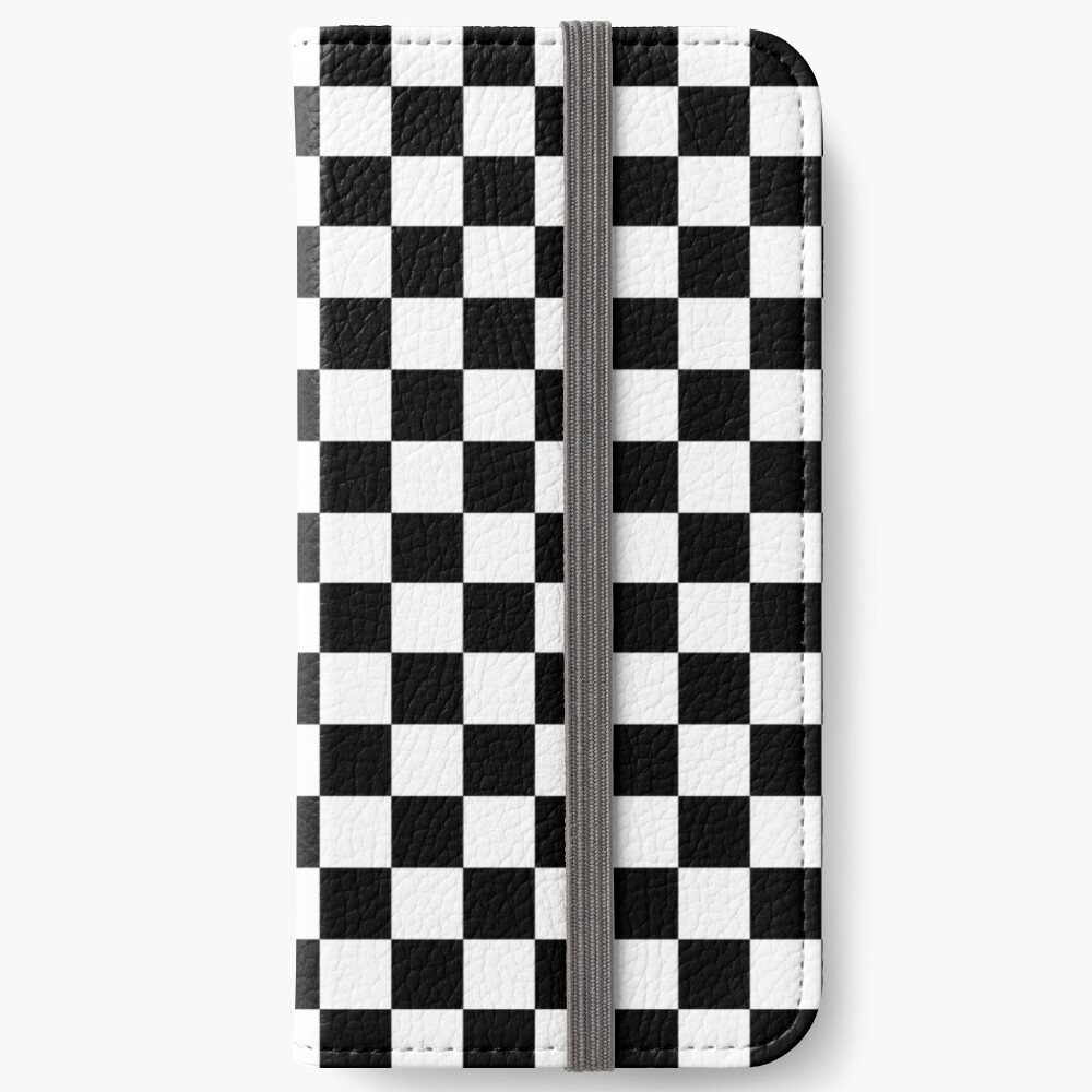 Checkered Flag, Chequered Flag, Motor Sport, Checkerboard, Pattern, WIN, WINNER,  Racing Cars, Race, Finish line, BLACK iPhone Wallet