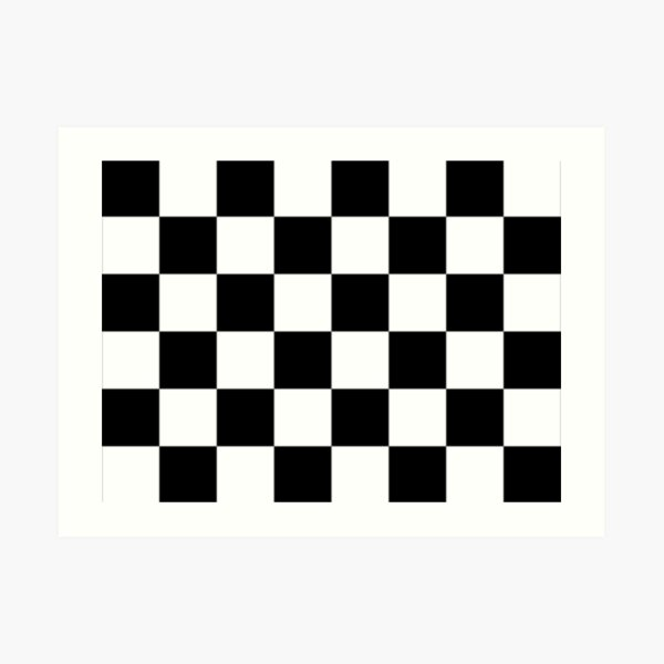 Checkered Flag. Chequered Flag. Motor Sport. Checkerboard. Pattern. WIN. WINNER.  Racing Cars. Race. Finish line. BLACK. Art Print