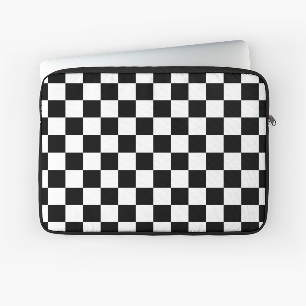 Checkered Flag, Chequered Flag, Motor Sport, Checkerboard, Pattern, WIN, WINNER,  Racing Cars, Race, Finish line, BLACK. Laptop Sleeve