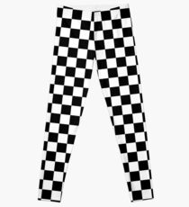 Checkered Flag, Chequered Flag, Motor Sport, Checkerboard, Pattern, WIN, WINNER,  Racing Cars, Race, Finish line, BLACK. Leggings