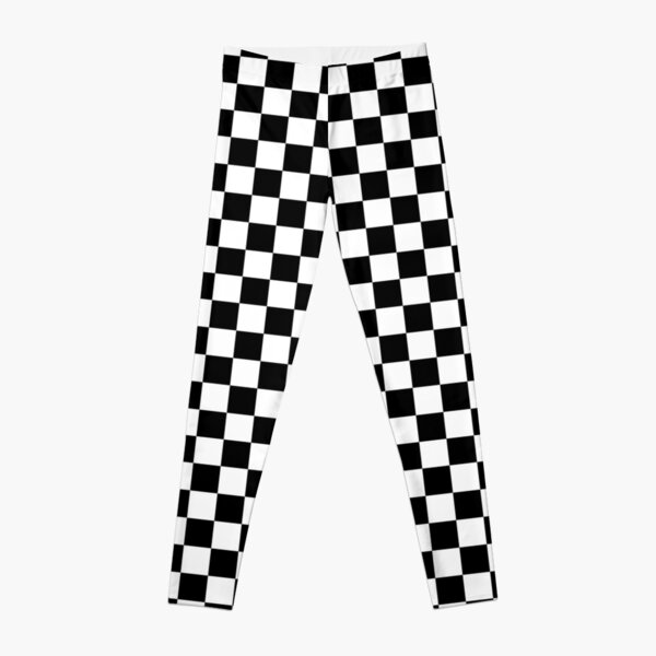 Checkered Flag. Chequered Flag. Motor Sport. Checkerboard. Pattern. WIN. WINNER.  Racing Cars. Race. Finish line. BLACK. Leggings