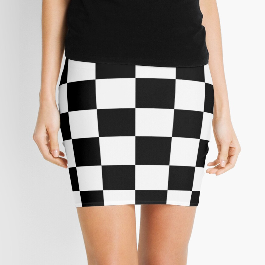 Checkered Flag, Chequered Flag, Motor Sport, Checkerboard, Pattern, WIN, WINNER,  Racing Cars, Race, Finish line, BLACK. Mini Skirt