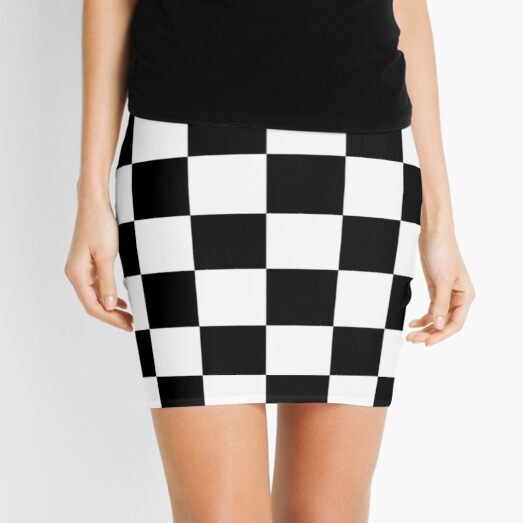 Checkered Flag. Chequered Flag. Motor Sport. Checkerboard. Pattern. WIN. WINNER.  Racing Cars. Race. Finish line. BLACK. Mini Skirt