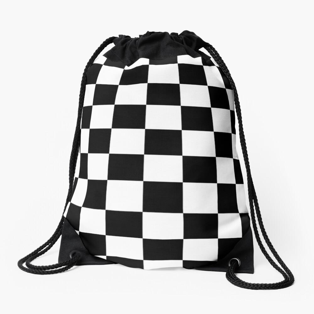 Checkered Flag, Chequered Flag, Motor Sport, Checkerboard, Pattern, WIN, WINNER,  Racing Cars, Race, Finish line, BLACK Drawstring Bag
