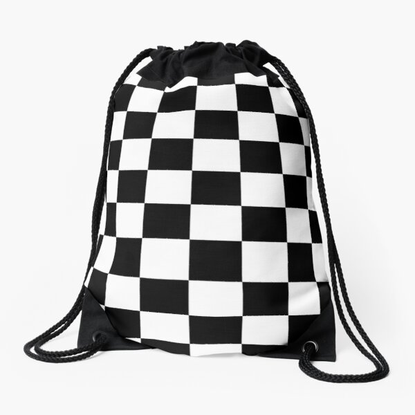 Checkered Flag. Chequered Flag. Motor Sport. Checkerboard. Pattern. WIN. WINNER.  Racing Cars. Race. Finish line. BLACK. Drawstring Bag