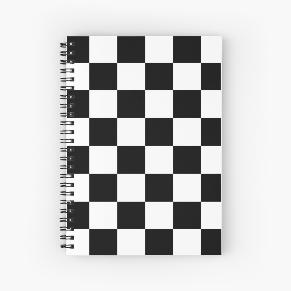 Checkered Flag, Chequered Flag, Motor Sport, Checkerboard, Pattern, WIN, WINNER,  Racing Cars, Race, Finish line, BLACK. Spiral Notebook