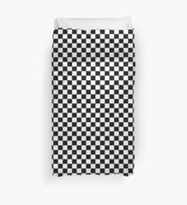 Checkered Flag, Chequered Flag, Checkerboard, Pattern, WIN, WINNER,  Racing Cars, Race, Finish line, BLACK Duvet Cover