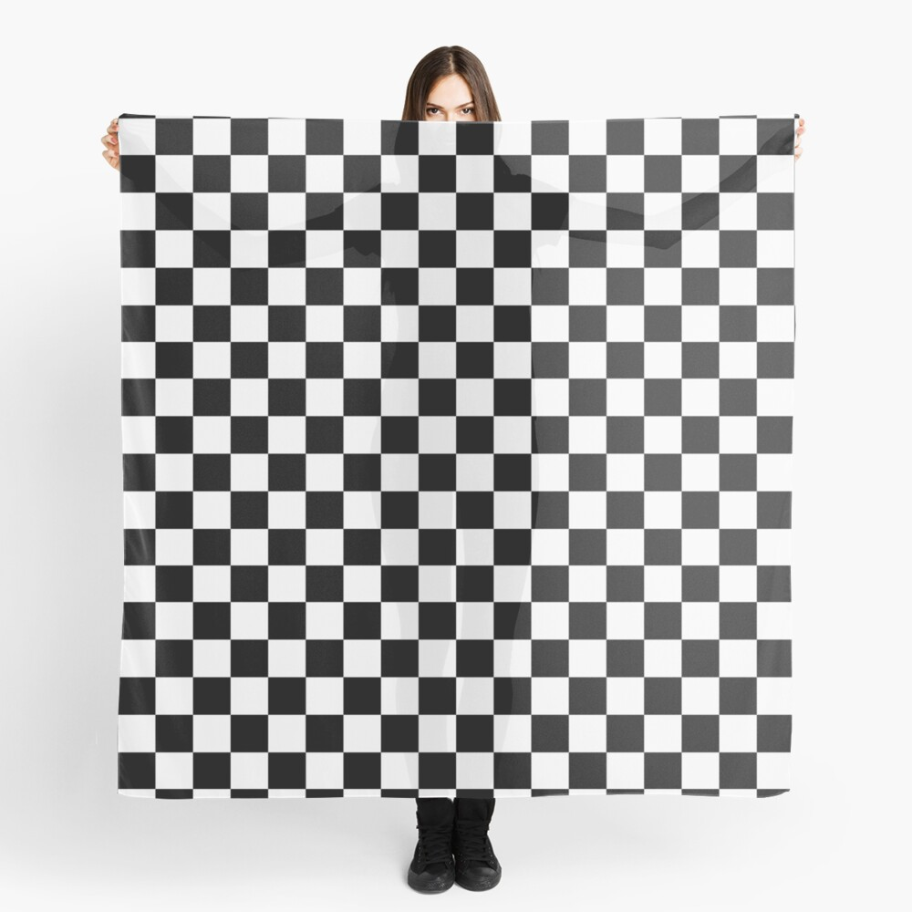 Checkered Flag. Chequered Flag. Motor Sport. Checkerboard. Pattern. WIN. WINNER.  Racing Cars. Race. Finish line. BLACK. Scarf