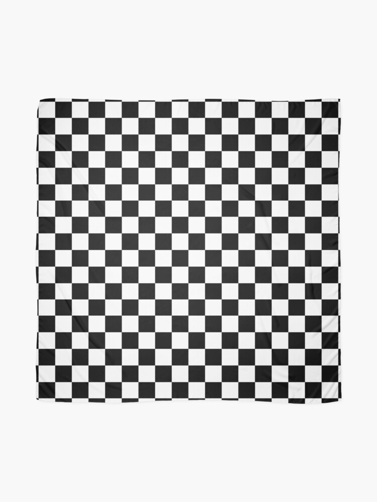 Alternate view of Checkered Flag. Chequered Flag. Motor Sport. Checkerboard. Pattern. WIN. WINNER.  Racing Cars. Race. Finish line. BLACK. Scarf
