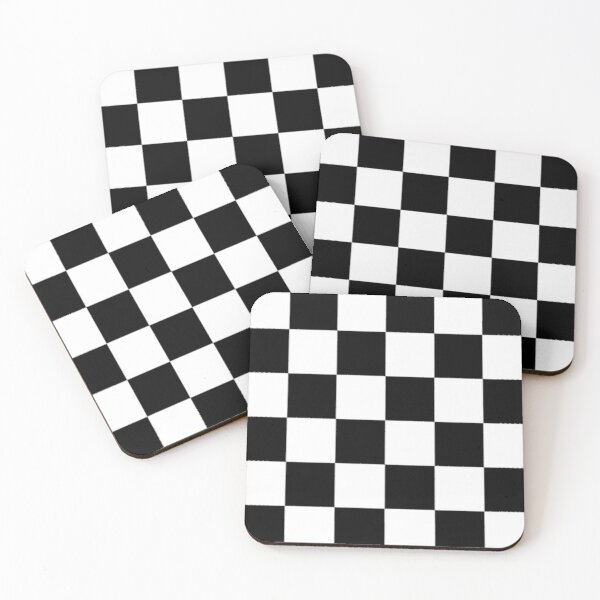 Checkered Flag. Chequered Flag. Motor Sport. Checkerboard. Pattern. WIN. WINNER.  Racing Cars. Race. Finish line. BLACK. Coasters (Set of 4)