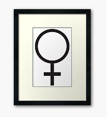 FEMALE, WOMEN, WOMAN, SHE, Venus symbol, FEMININE, Gender symbol, Sex, sex of an organism, Black  Framed Print