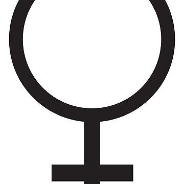 FEMALE, WOMEN, WOMAN, SHE, Venus symbol, FEMININE, Gender symbol, Sex, sex of an organism, Black  by TOMSREDBUBBLE