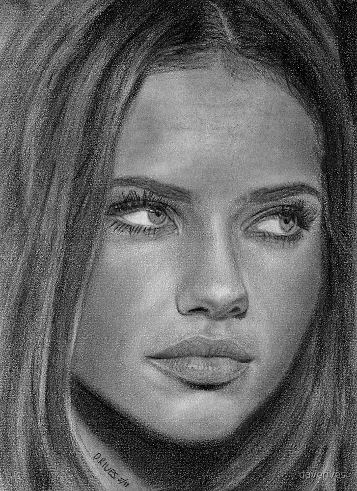 Adriana Lima 2 Pencil Drawing by daverives