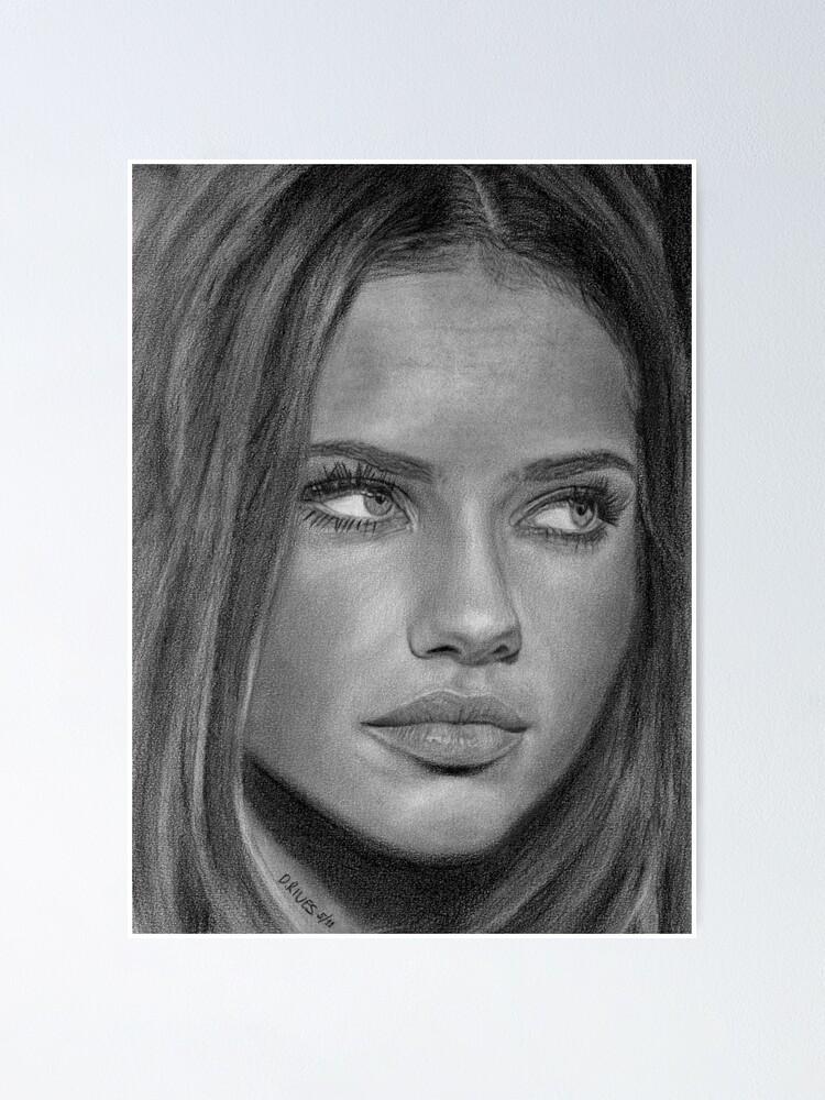 Canvas Adriana Lima/'s Art Print Poster