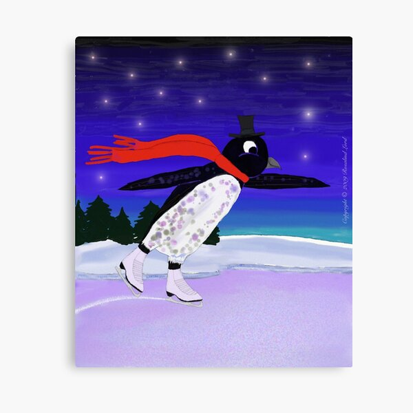 Skating Penguin Canvas Print