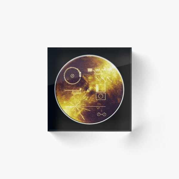 VOYAGER. Space, Golden Record, Spacecraft, Message to Aliens. Acrylic Block