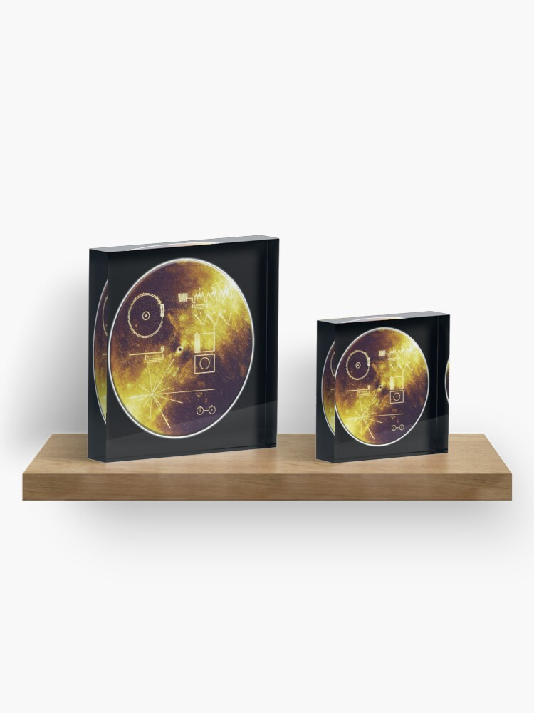 Alternate view of VOYAGER. Space, Golden Record, Spacecraft, Message to Aliens. Acrylic Block