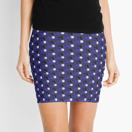 Black Cat Witch Flying Over Moon Mini Skirt