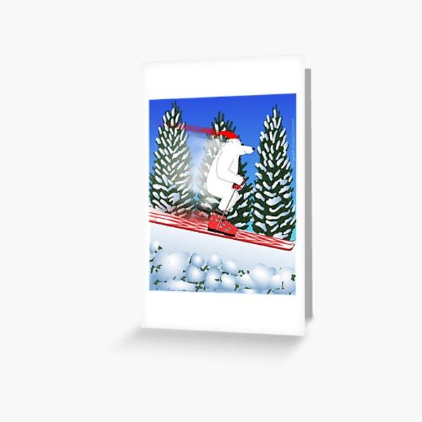 Skiing Polar Bear in Santa Hat Greeting Card