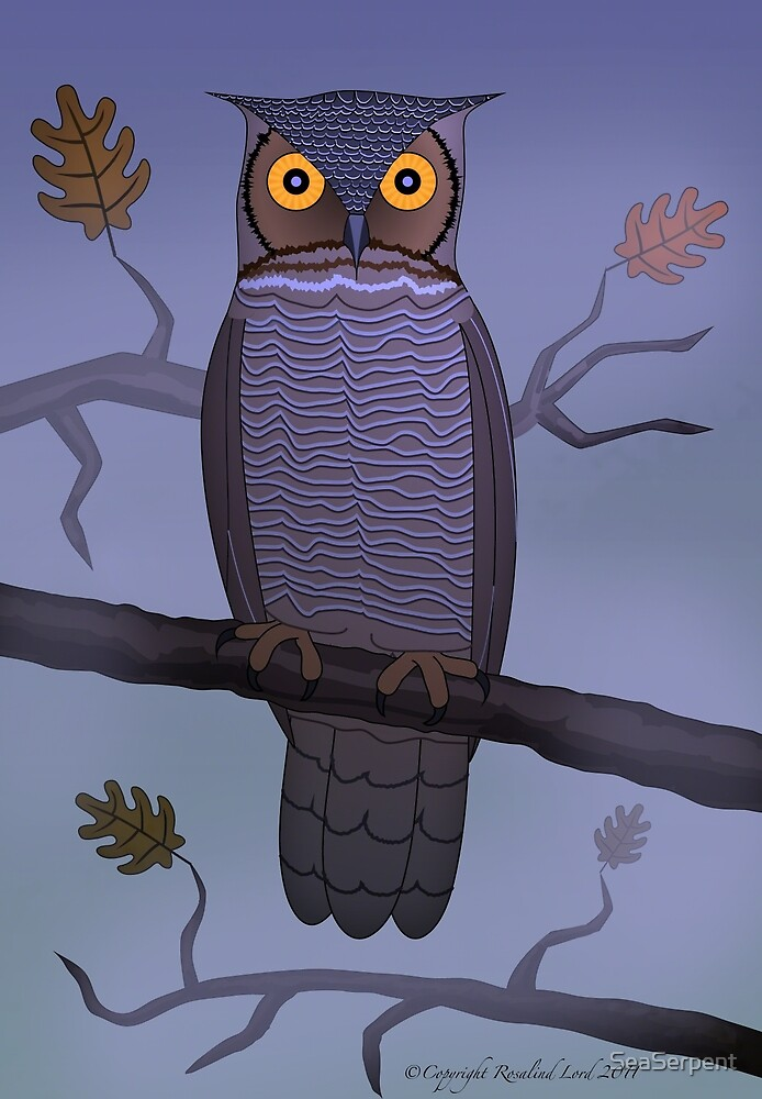 Owl on Branch in Mist by SeaSerpent