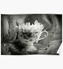 Tea Cup, Lace & Frangipanis Poster