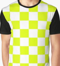 Chartreuse Checkers Pattern Graphic T-Shirt
