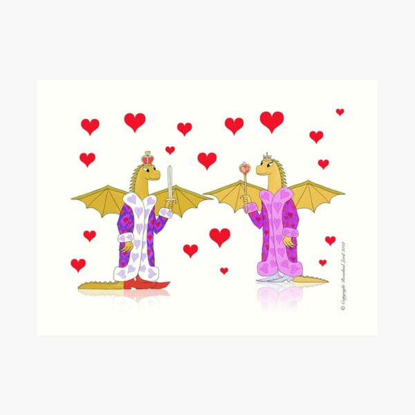 Dragon King and Queen of Hearts Art Print