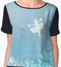 Turquoise Dragonfly Art Chiffon Top