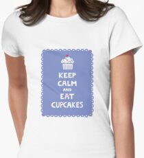 Keep Calm and Eat Cupcakes - frilly Womens Fitted T-Shirt