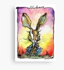 Cello Hare Watercolour and ink Canvas Print
