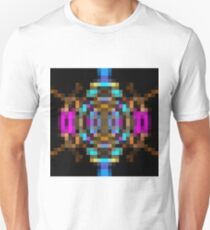 geometric square pixel abstract in blue orange pink with black background T-Shirt