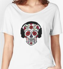 Sugar Skull with Headphones Women's Relaxed Fit T-Shirt