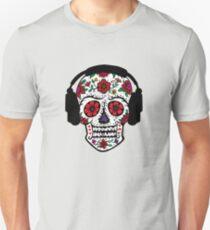 Sugar Skull with Headphones Unisex T-Shirt