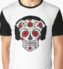 Sugar Skull with Headphones Graphic T-Shirt