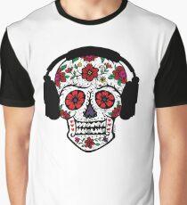 Sugar Skull with Headphones Graphic T-Shirt