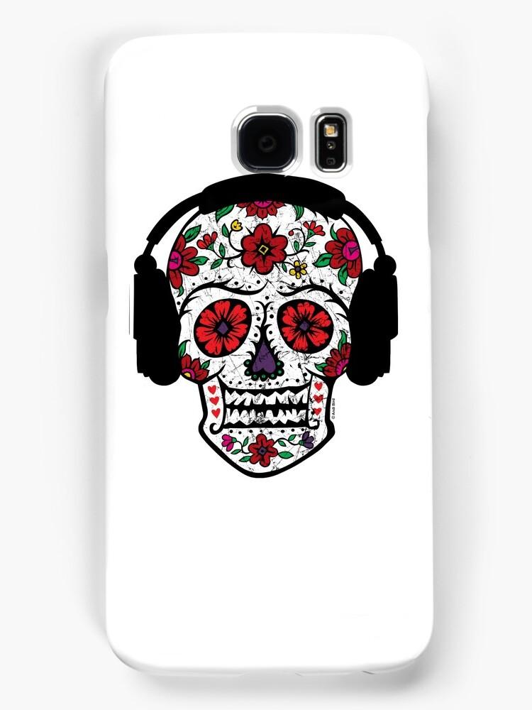 Sugar Skull with Headphones by Andi Bird